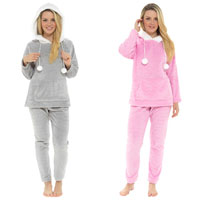 Ladies Soft Touch Fleece Pom Pom Hooded Pyjamas