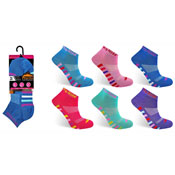 Ladies ProHike Cushioned Sole Trainer Socks Coloured Lines