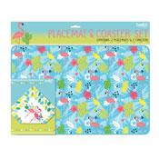 Flamingo Design Placemats & Coasters Set 2 Pack