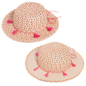 Girls Straw Wide Brim Hat With Tassel Band
