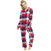 Ladies Pyjama Set Traditional Checked Pattern
