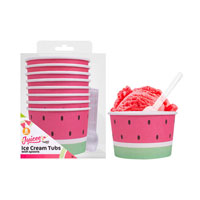Watermelon Design Ice Cream Tubs & Spoons 8 Pack
