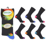 Mens Flexi-Top Non Elastic Socks Colour Heel Toe