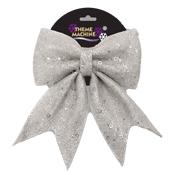 25CM Glitter Sequin Bow Silver