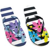 Ladies Broad Stripe Flower Print Flip Flops