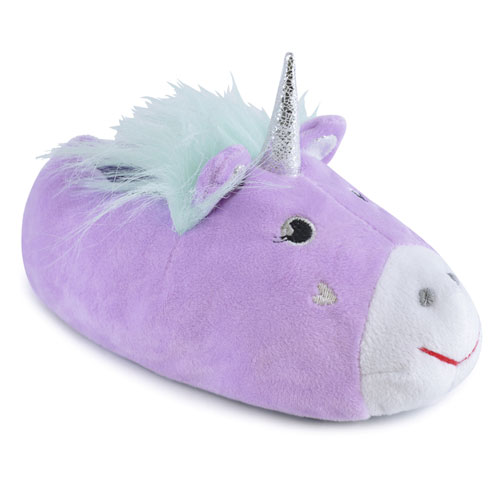 Girls Soft Unicorn Fleece Slippers Lilac