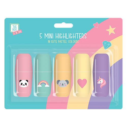 Kids Rainbow Mini Highlighter Pens 5 Pack