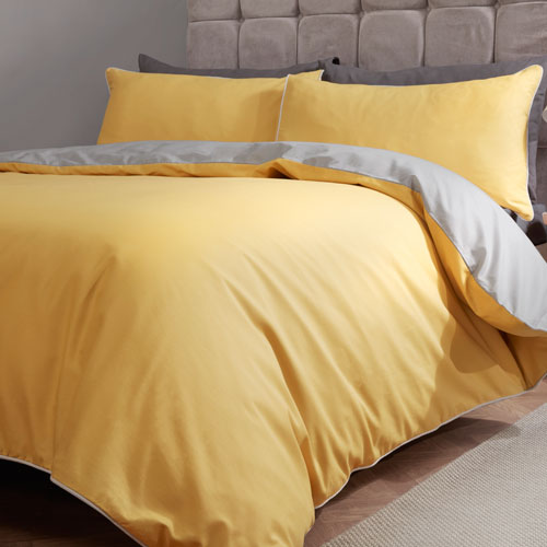 Essential Reversible Duvet Set Ochre