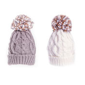 Baby Soft Knitted Bobble Hat With Pom Pom Cream/Grey