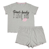 Ladies Curve Slogan Shorts Set