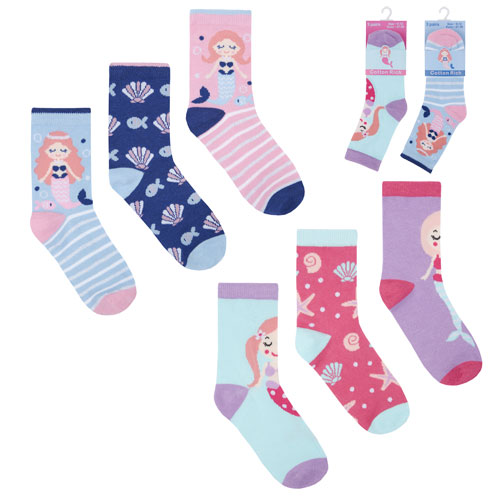 Girls Mermaid Character Cotton Rich Socks