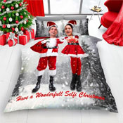 Santa Selfie For Christmas Duvet Set Grey