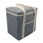 Jumbo Insulated Cooler Bag Grey Stripe