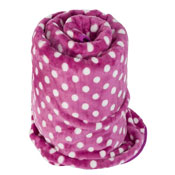 Faux Fur Mink Spotty Blanket Fuchsia