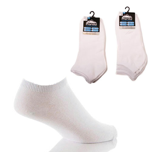 Mens Pro Hike Plain White Trainer Socks