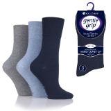 Ladies HoneyComb Top Gentle Grip Socks Blue Grey