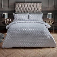 Super Soft Metallic Heart Duvet Set Silver