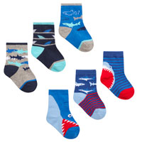 Baby Boys 3 Pack Shark Socks