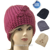 Ladies Knitted Beanie Hat with Rose
