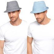 Mens Denim Trilby Hat Blue/Grey