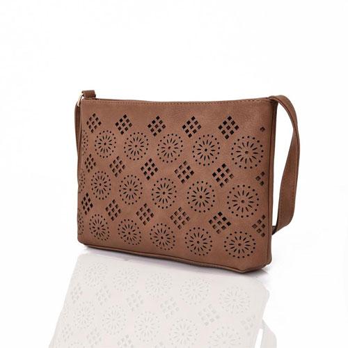 Ladies Aztec Cut Out Crossbody Bag Brown