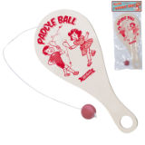 Wooden Paddle Bat And Ball Retro
