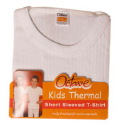 Kids Thermal Underwear T Shirt Short Sleeved White