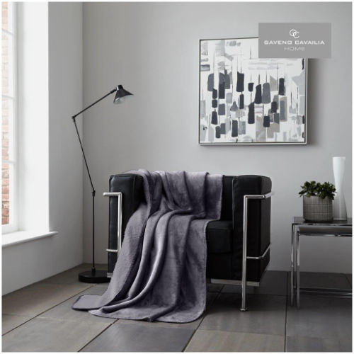 Charcoal Flannel Sherpa Throw