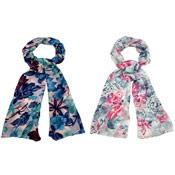 Ladies Ruched Scarves Flower Print