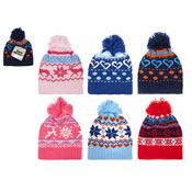 Kids Winter Design Knitted Bobble Hat With Pom Pom