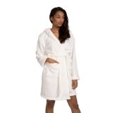 Ivory Luxury Fleece Hooded Robe Satin Trim
