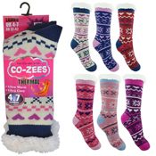 Ladies Fairisle Thermal Bootie Socks