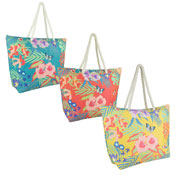 Floral Bird Print Canvas Beach Bag