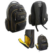 JCB Heavy Duty Insulated Side Pocket Backpack Black/Yellow