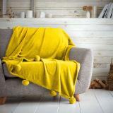 Luxury Pom Pom Throw Ochre 130 x 180cm