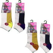 Ladies Fashion Trainer Socks Heel Stripes Design