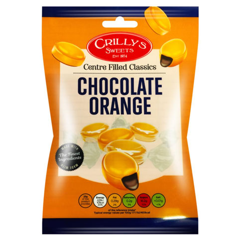 Chocolate Orange Crillys Sweets 130g Bag