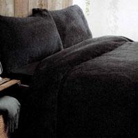 Super Soft Teddy Fleece Duvet Set Black