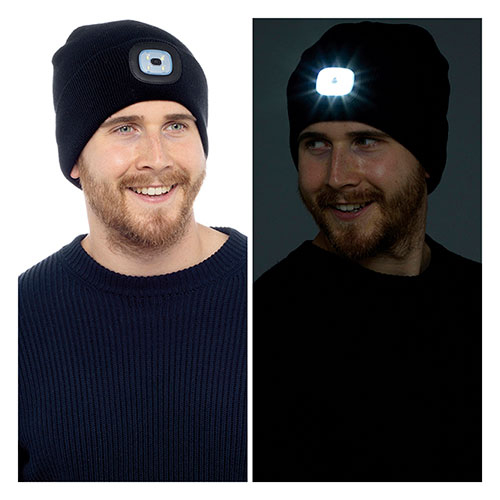 Black Rechargeable LED Torch Beanie Hat
