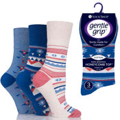 Ladies Gentle Grip Socks Aztec Pattern