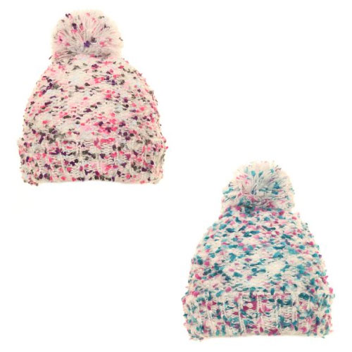 Girls Super Soft Popcorn Yarn Knitted Pom Pom Hat