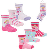 Childrens Princess Design Cotton Rich Socks