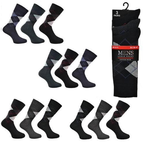 Mens Classic Argyle Cotton Socks