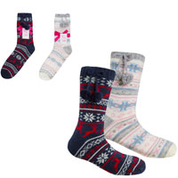 Ladies Cosy Lined Fairisle Boot Socks with Grippers