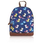 Unicorn Design Front Pocket Backpack Dark Blue