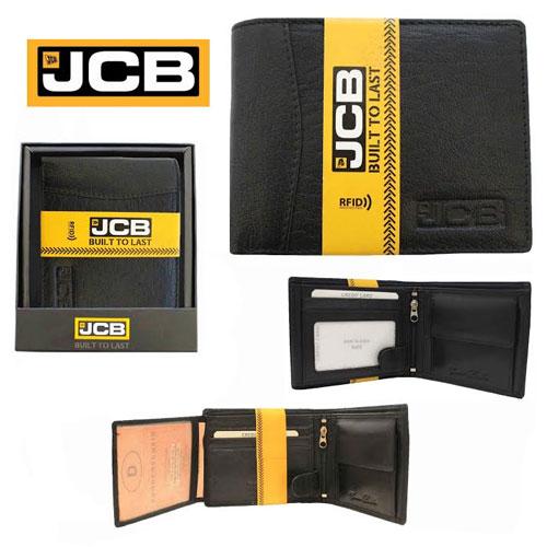 JCB Mens Black Leather RFID Blocking Wallet Photo Sleeve