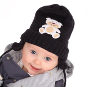 Babies Knitted Hat with Teddy Embroidered