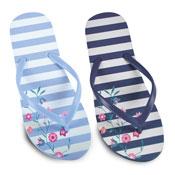 Ladies Floral Stripe Print Flip Flop