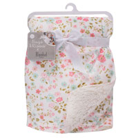 Mink Sherpa Baby Blanket Pink Flower