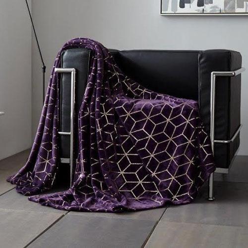 Metallic Cube Faux Mink Throw Purple